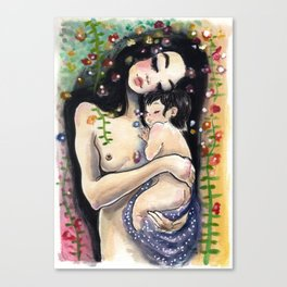 Klimt4: Mother and child Canvas Print