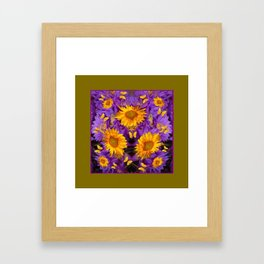 YELLOW BUTTERFLY SWARM LILAC-KHAKI COLOR Framed Art Print