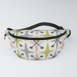 Mid Century Modern Abstract Star Pattern 222 Teal Chartreuse Dusty Rose and Gray Fanny Pack
