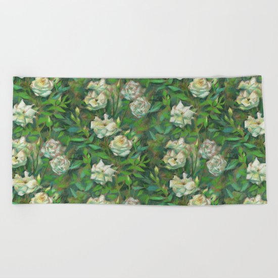"""White roses, green leaves"", pastel painting, floral art Beach Towel"