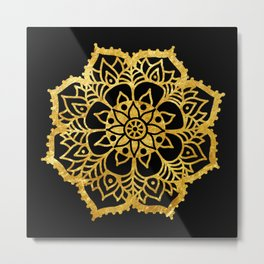 Gold freehand mandala Metal Print