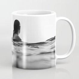 BLACK AND WHITE - OCEAN - WAVES - SEA - WATER - WOMAN Coffee Mug