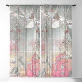 Misty rose garden Sheer Curtain