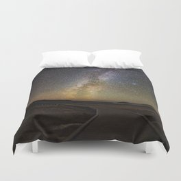 Grand Prismatic Spring Under The Milky Way Duvet Cover