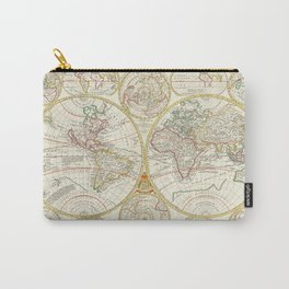 Vintage Map Print - 1699 Map of the World in East and West Hemispheres Carry-All Pouch