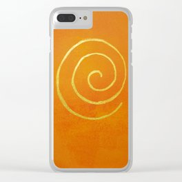Philip Bowman Infinity Bright Orange And Gold Abstract Modern Art Painting Clear iPhone Case