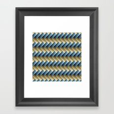 3D Weave, Blue and Yellow Gold Framed Art Print