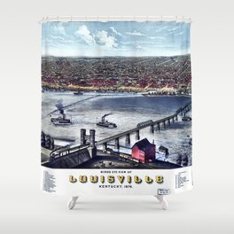 LOUISVILLE KENTUCKY city old map Father Day art print poster Shower Curtain