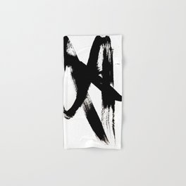 Brushstroke 2 - simple black and white Hand & Bath Towel
