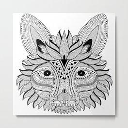 Foxy Fox Dark Metal Print