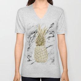 Gold Pineapple on Marble Unisex V-Neck