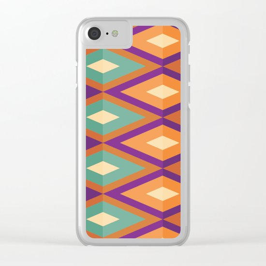 Pattern orange green Clear iPhone Case