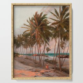 Vintage Palm Tree and Beach Art Serving Tray