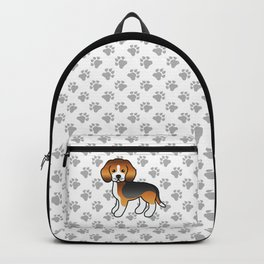 Cute Tricolor Beagle Dog Cartoon Illustration Backpack