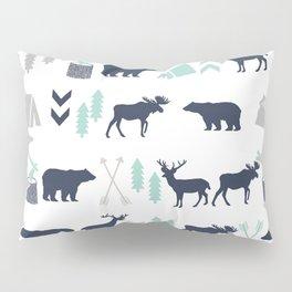 Camper pattern minimal nursery basic grey navy mint white camping cabin chalet decor Pillow Sham
