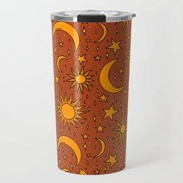 Vintage Sun and Star Print in Rust Travel Mug