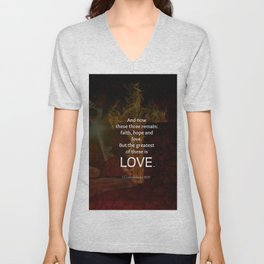 1 Corinthians 13:13 Bible Verses Quote About LOVE Unisex V-Neck