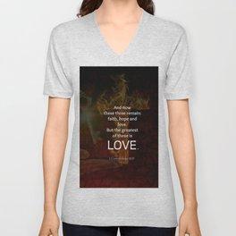 1 Corinthians 13:13 Bible Verses Quote About LOVE Unisex V-Neck