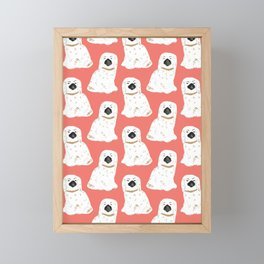 Staffordshire Dog Figurines No. 1 in  Neon Peach Framed Mini Art Print