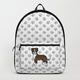 Cute Brindle Boxer Dog Cartoon Illustration Backpack