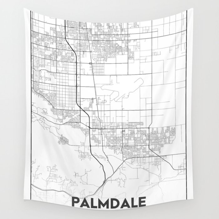 Minimal City Maps - Map Of Palmdale, California, United States Wall  Tapestry by valsymot