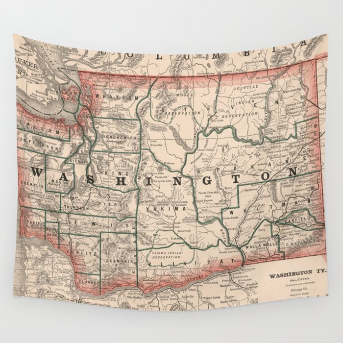 Vintage Map of Washington State (1883) Wall Tapestry by bravuramedia