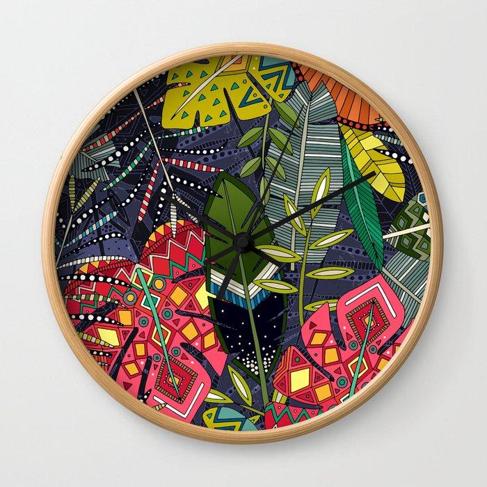 boho hojas midnight Wall Clock