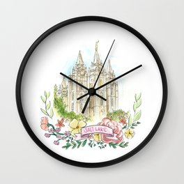 Salt Lake City LDS watercolor Temple with flower wreath Wall Clock