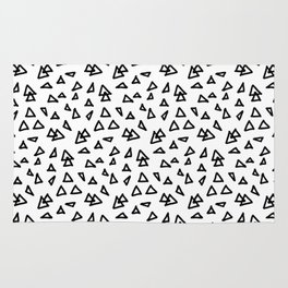 Modern geometric hand drawn minimalist black triangles pattern Rug