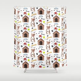Staffordshire Dog Half Drop Repeat Pattern Shower Curtain