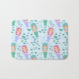 Mermaid with blue and pink hair cute kawaii girl Bath Mat