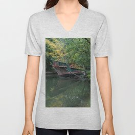 Ghost Ship In Nature  Unisex V-Neck