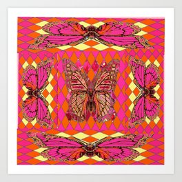 ABSTRACT MONARCH BUTTERFLY IN PINK-YELLOW Art Print