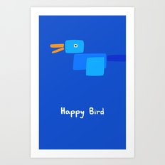 Happy Bird-Blue Art Print