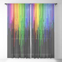 Rainbow Paint Drops on Black Sheer Curtain
