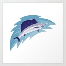 sailfish jumping retro style Art Print