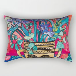 Persephone Painting - Bouquet of Iris and Strelitzia Flowers in Greek Horse Vase Against Coral Pink Rectangular Pillow