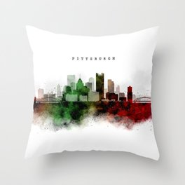 Pittsburgh Watercolor Skyline Throw Pillow