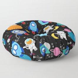 Space Cats Astronaut Kittens Rocket Ship Pattern Floor Pillow