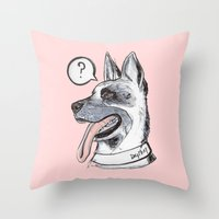 meat Throw Pillows featuring Dog Meat by scoobtoobins