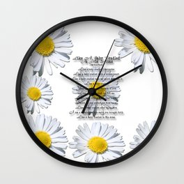 Daisy Flower with Christian Faith Base Poem Wall Clock