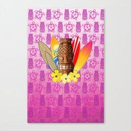 Surfboards And Tiki Mask Pink Tiki Canvas Print