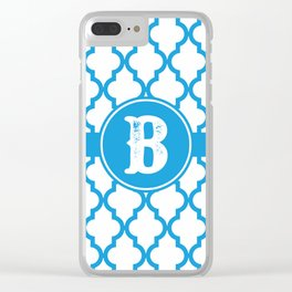 Blue Monogram: Letter B Clear iPhone Case