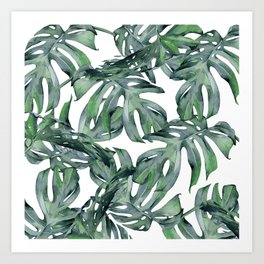 Tropical Palm Leaves Green and White Art Print