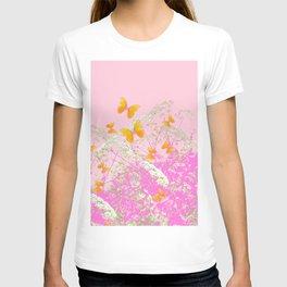 GOLDEN BUTTERFLIES IN PINK LACE GARDEN T-shirt