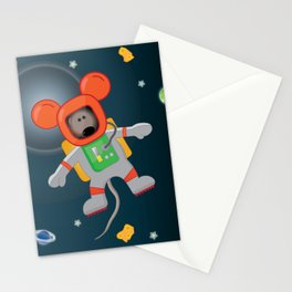 Space Mouse floating in space Stationery Cards
