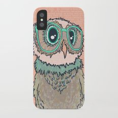 Owl wearing glasses II iPhone X Slim Case