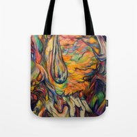 trippy Tote Bags featuring trippy by Brad Lemoine
