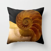 shell Throw Pillows featuring shell by littlesilversparks