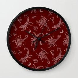 Scorpio Moon on Maroon Wall Clock